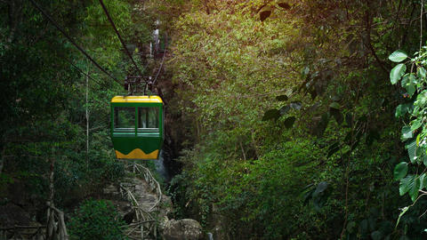 Suspended Cable Car Approaches Datanla Waterfall near Dalat. Vietnam Footage