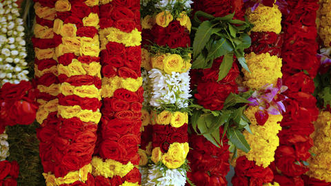 Flower garlands for sale at the singapore market Stock Video Footage