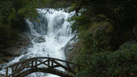 Pedestrian Bridge over Datanla Falls near Da lat. Vietnam. with Sound Footage