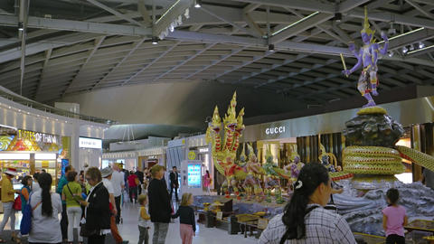 Artistic Display of Mythical Beings at Suvarnabhumi Airport in Bangkok Footage