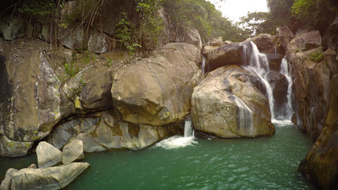 Ban Ho Waterfall. a natural. multi-tiered cascade near Nha Trang. with sound Footage
