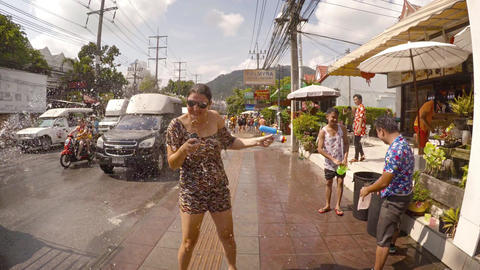 Songkran festival water fight in Patong. Thailand Footage