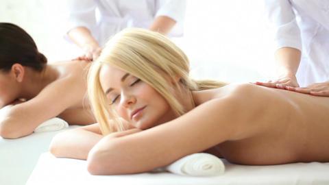 Beautiful women getting massage Footage