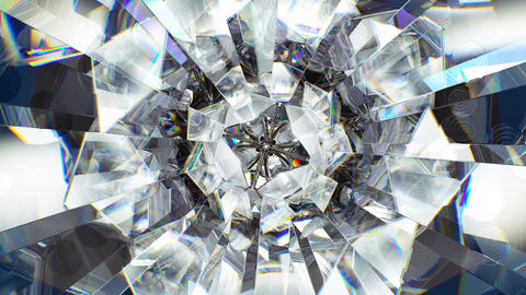 sparkling diamond macro rotating seamless loop. kaleidoscope Animation