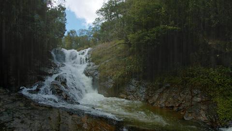 Waterfall on a Rainy Day near Da lat. Vietnam. with Sound Footage