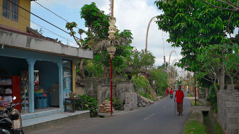 Typical street through the vilage of Ubud. with sound Footage