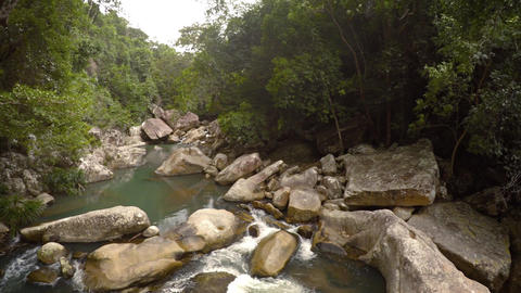 Rocky river and waterfall near Nha Trang. Vietnam. Footage UHD Footage