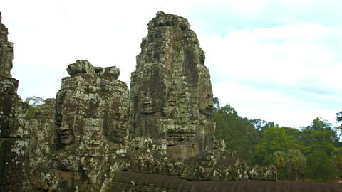 Panorama of ancient Cambodian temple. Bayon temple ruins Footage