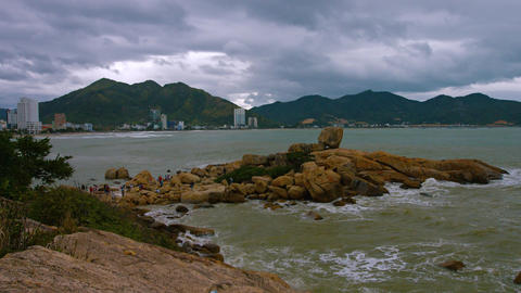 Nha Trang. Vietnam. Hon Chong rocks. Shot with slow panning Footage