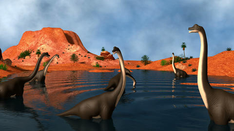 Group of Brachiosaurus dinosaurs grazing in a prehistoric lake Animation