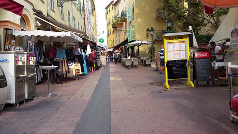 Walking Along the Shopping Street in Menton, France Live Action