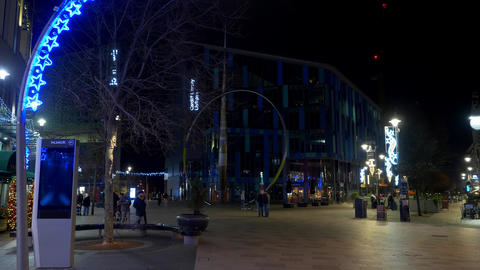 Cityscapes of Cardiff Wales at night - CARDIFF, WALES - DECEMBER 31, 2019 Live Action