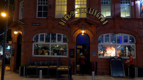 Duke of Wellington Pub in Cardiff Wales at night - CARDIFF, WALES - DECEMBER 31 Live Action