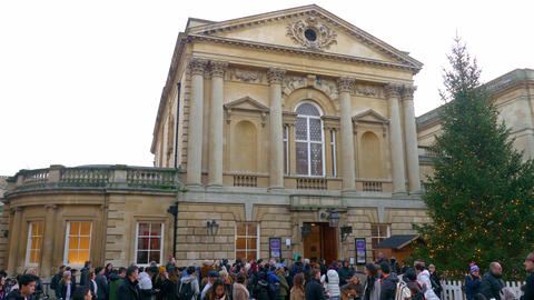 The famous Roman Bath in the city of Bath England - BATH, ENGLAND - DECEMBER 30 Live Action