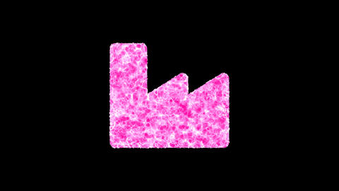 Symbol industry factory shimmers in three colors: Purple, Green, Pink. In - Out loop. Alpha channel Animation