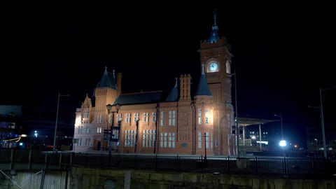Pierhead at Mermaid Quay in Cardiff Wales at night - CARDIFF, WALES - DECEMBER Live Action