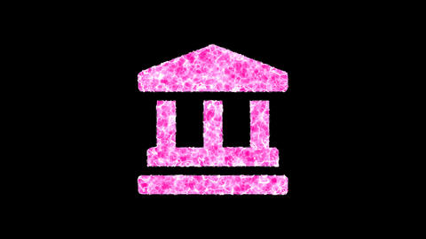 Symbol landmark shimmers in three colors: Purple, Green, Pink. In - Out loop. Alpha channel Animation