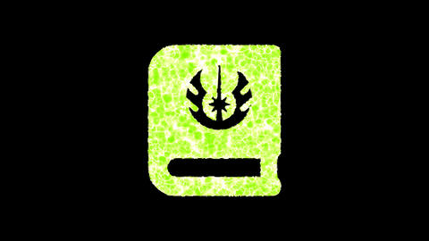 Symbol jedi book shimmers in three colors: Purple, Green, Pink. In - Out loop. Alpha channel Animation