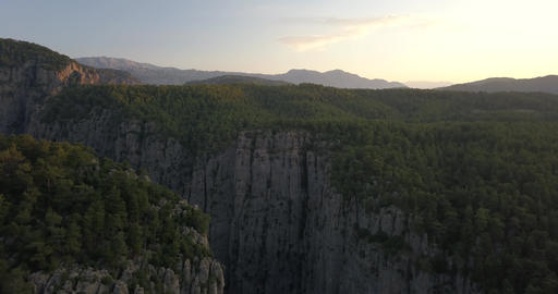 Aerial view over Tazi canyon, amazing view, forest, sunset, Turkey, 4k Live Action
