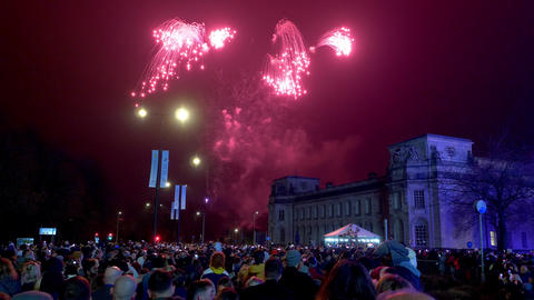 New Years Eve fireworks in Cardiff Wales - CARDIFF, WALES - DECEMBER 31, 2019 Live Action