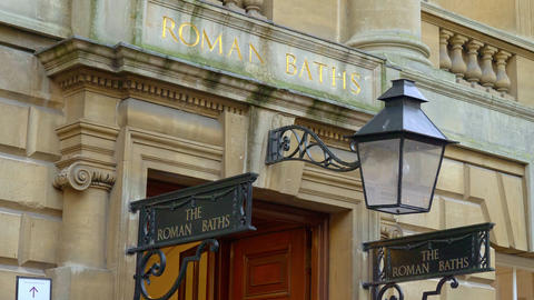 The famous Roman Baths in the historic city of Bath England - BATH, ENGLAND - Live Action