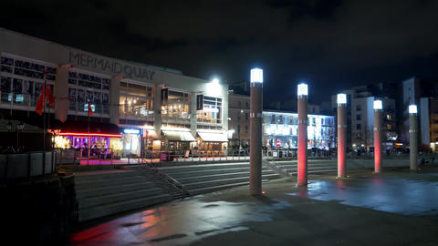 Beautiful Mermaid Quay in Cardiff Wales at night - CARDIFF, WALES - DECEMBER 31 Live Action
