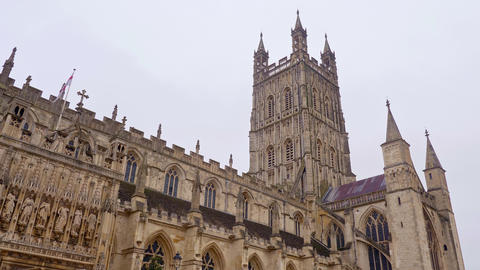 Famous Gloucester Cathedral in England Live Action