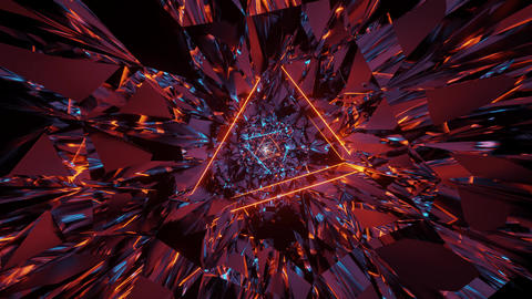 3d illustration motion background of abstract triangle neon eye graphic artwork Animation