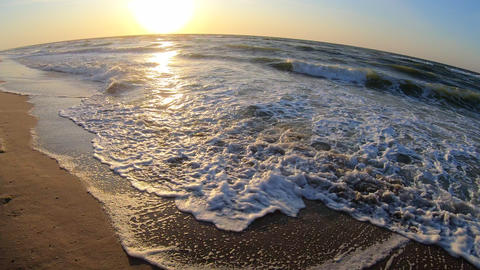 Sunset sunrise dawning at sea ocean. Water and waves sea landscape Live Action