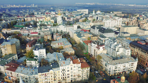 Aerial view of buildings in the center of Kiev, cityscape in the autumn Live Action
