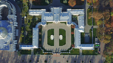 Mariyinsky Palace from the top. Aerial view of an official ceremonial residence Live Action