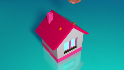 Moneybox in the form of a house and falling gold coins. Computer generated a Acción en vivo