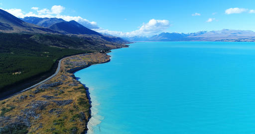 New Zealand aerial drone footage of lake Pukaki and southern alps South Island Live Action