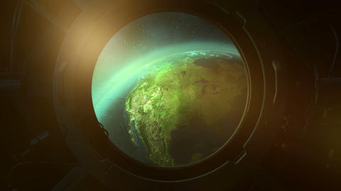 View of planet earth from the porthole from orbit Animation
