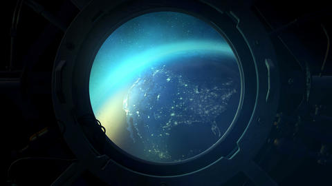 View of the night globe from the porthole Animation