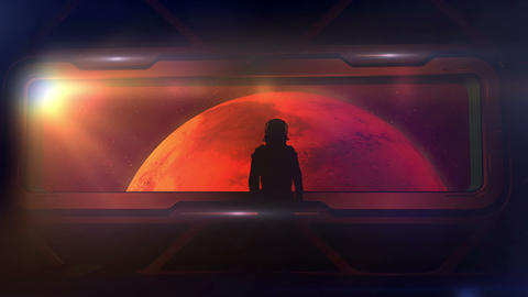Astronaut at the porthole of a ship approaching Mars Animation