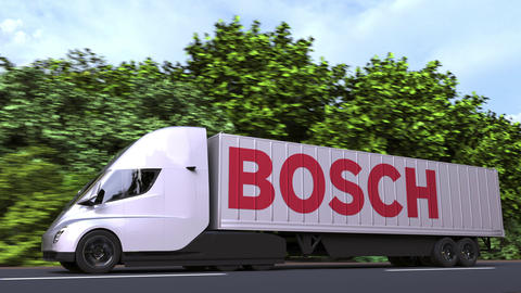 Electric semi-trailer truck with BOSCH logo on the side. Editorial loopable 3D Live Action