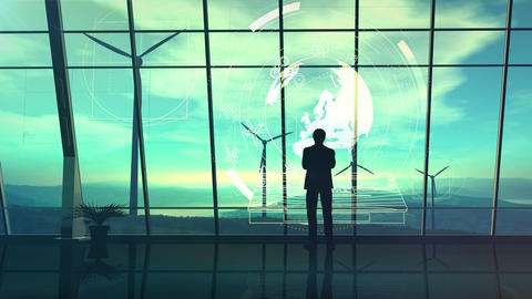 Male silhouette on a background of wind farms surrounded by infographics Animation