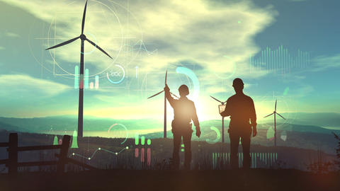 Silhouettes of engineers against the backdrop of the sunset and wind farms Animation