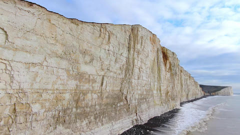 Flight over the white cliffs at the English coast Live Action