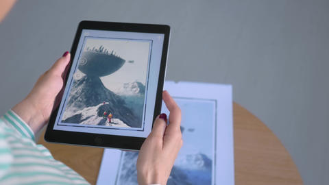 Woman using tablet with AR application: contemporary art, surrealism concept Live Action
