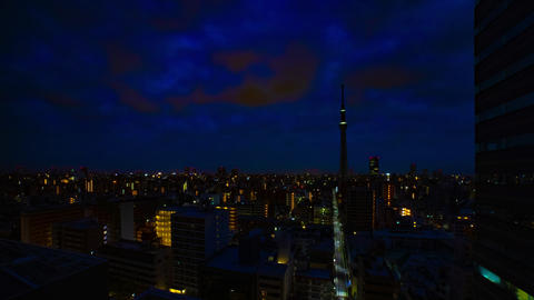 A dawn timelapse at the urban city street in Tokyo high angle wide shot Live Action