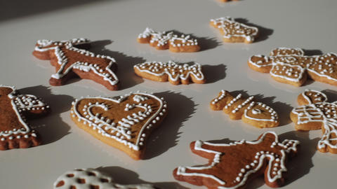 Traditional gingerbread Christmas cookies. Slow motion trucking shot on a gimbal. Shallow depth of Live Action