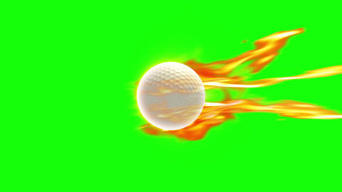GolfBall fire loop green screen animation Animation