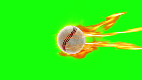 BaseBall fire loop green screen Videos animados