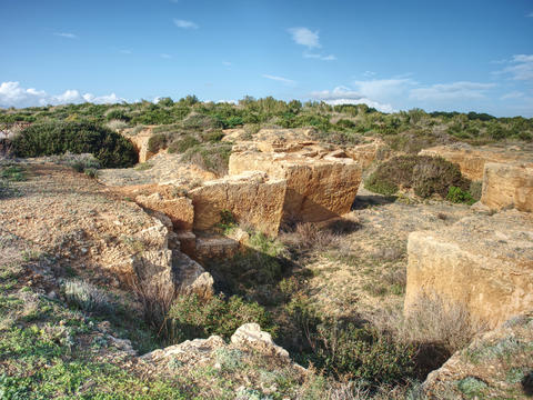 Sandstone mine, hole built in soft rock Photo