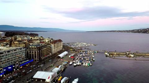 Panoramic aerial view of Geneva city, Switzerland GIF