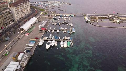 Panoramic aerial view of Geneva pier, Switzerland GIF