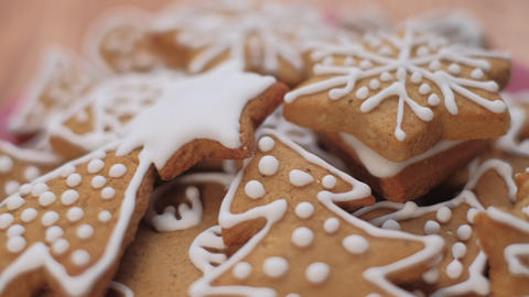 Traditional gingerbread Christmas cookies. Close up dolly shot. Shallow depth of field. Czech Live Action