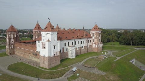 Amazing drone shot from above the famous Mir Castle in the village of Mir Live Action